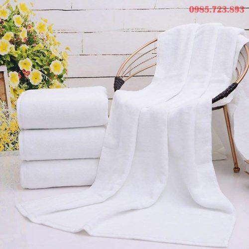 Khăn Tắm Khách Sạn Cao Cấp 70x140 - 500Gr Màu Trắng Chất Liệu 100% Cotton
